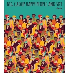 Big group happy people and sky vector