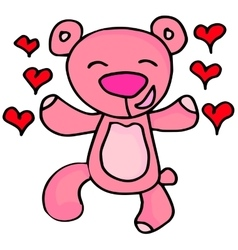 Happy bear character valentine days vector