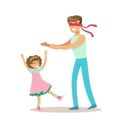 Dad Playing Hide And Seek With Daughter Loving vector image