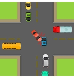 General Traffic Rules Turn Left at Crossroads vector image