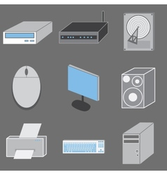 Set of nine computer-tematic icons vector