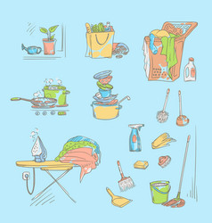 set sketch color on a blue vector image