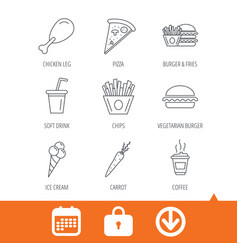 vegetarian burger pizza and soft drink icons vector image