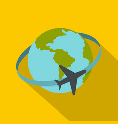 travelling by plane around the world icon vector image