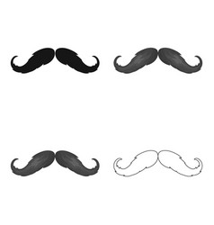 hipster mustache icon in cartoon style isolated on vector image