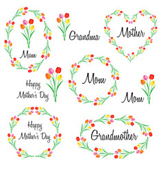 happy mothers day set with tulips vector image