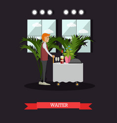 Hotel waiter concept in flat vector