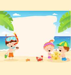 Cute summer kids with blank paper vector