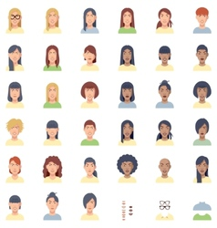 women faces flat icon set vector image