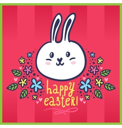 Easter card with bunny and flowers vector