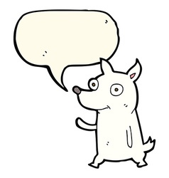 Cartoon little dog waving with speech bubble vector