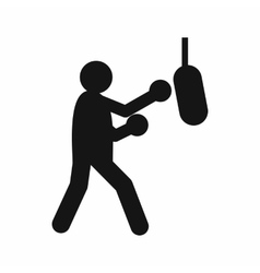 Boxer hitting the punching bag icon simple style vector