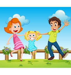 A happy family above the hills with a fence vector image vector image