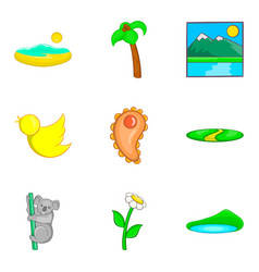 Australian fauna icons set cartoon style vector