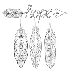 Bohemian arrow hand drawn amulet with letters vector