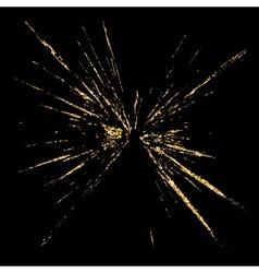 Broken glass hole grunge texture gold black sketch vector image