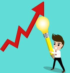Business man try to rebound economic by his idea vector image vector image