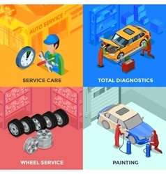 Car service isometric 2x2 design concept vector