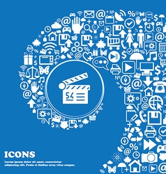Cinema movie icon sign nice set of beautiful icons vector