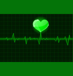 Electrocardiogram green waves with heart symbol vector