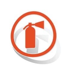 Fire extinguisher sign sticker orange vector