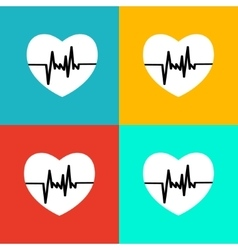 Flat heart beat icon vector image vector image