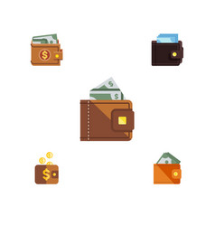 flat icon purse set of payment finance wallet vector image vector image