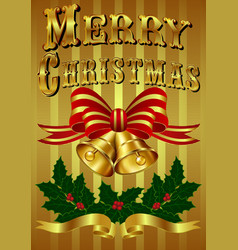 Gold Christmas Card with hand drawn lettering vector image