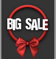 Grey big sale card with bow vector