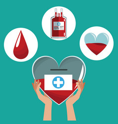 hand holding heart donation icons care vector image