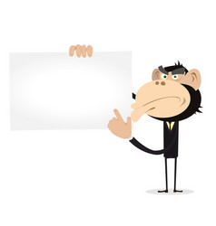 Monkey businessman holding a vcard vector