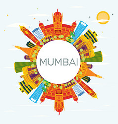 mumbai india skyline with color buildings blue vector image
