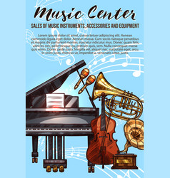 music instrument sketch banner with musical notes vector image vector image