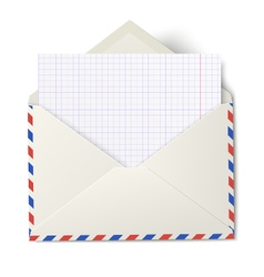 Opened air mail envelope with white sheet vector image