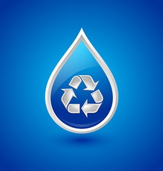 Recycled water drop icon vector