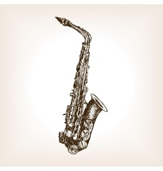 Saxophone hand drawn sketch style vector image vector image