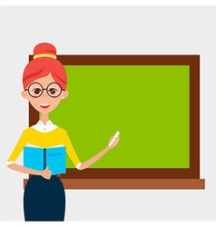 School Teacher with Glasses and Book and Empty vector image