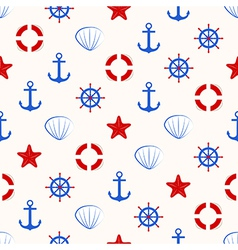Seamless nautical pattern with sea theme elements vector