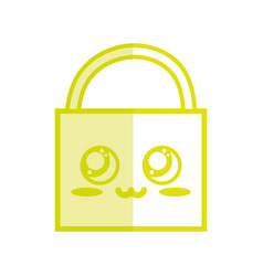 Silhouette kawaii cute tender padlock element vector