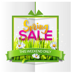 Spring sale paper banner with green ribbon vector