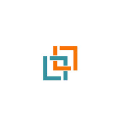 Square connection line colored company logo vector
