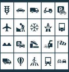 Transportation icons set with slippery freeway vector