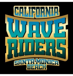 Wave riders t shirt typography graphics gold vector image vector image