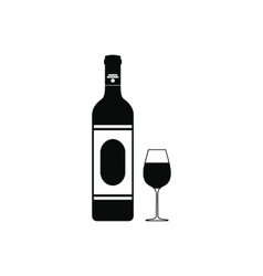 Wine bottle and glass icon simple style vector