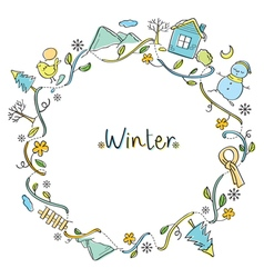 Winter objects on round frame vector