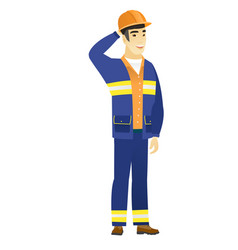 young asian builder scratching his head vector image