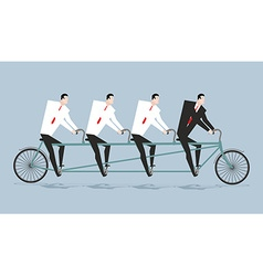 Tandem managers businessmen riding bicycle vector
