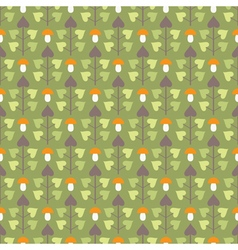 Seamless pattern with abstract trees and mushrooms vector image