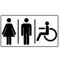 Mens and womens disabled restroom signage vector