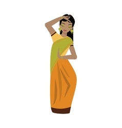 Young traditional indian woman character vector